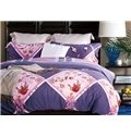 Likable Cartoon Bottles Pattern Rhombus Purple 4-Piece Cotton Duvet Cover