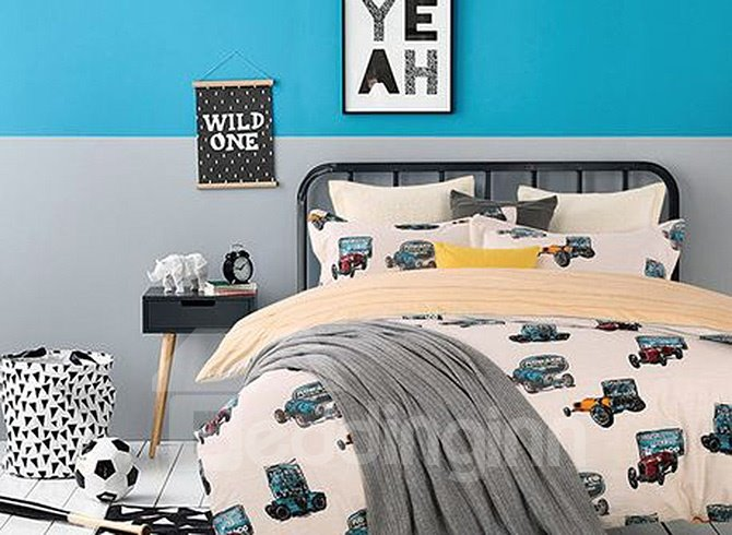 Chic Colorful Cartoon Cars Upscale 4-Piece Cotton Duvet Cover