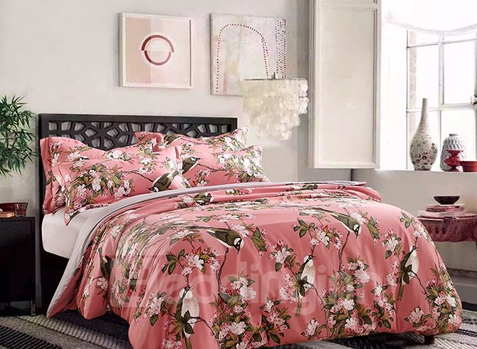 American Pastoral Style Birds and Flowers Printing 4-Piece Cotton Duvet Cover