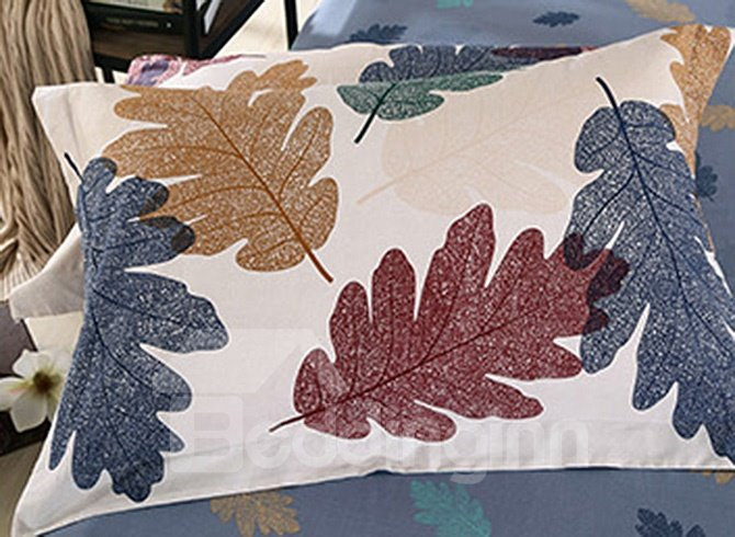 High Class Creative Leaves Pattern 100% Cotton 4-piece Duvet Cover Sets