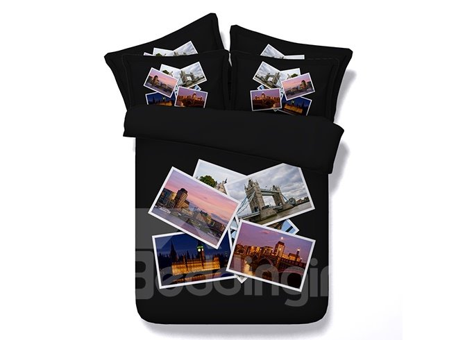 High Quality Cityscape Photos Printing 4-Piece Duvet Cover Sets