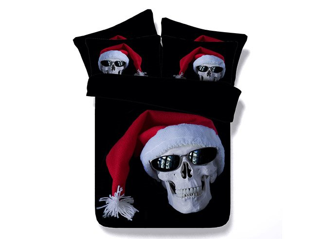 3D Skull with Christmas Cap Printed Cotton 4-Piece Black Bedding Sets/Duvet Covers