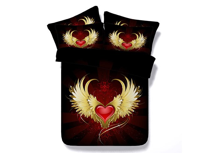 3D Red Heart with Wings Printed Cotton 4-Piece Black Bedding Sets/Duvet Covers