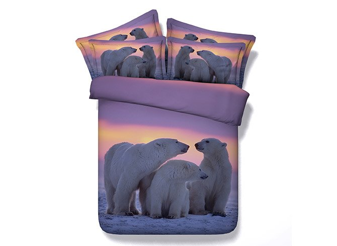 3D A Family of Polar Bear Printed Cotton 4-Piece Bedding Sets/Duvet Covers