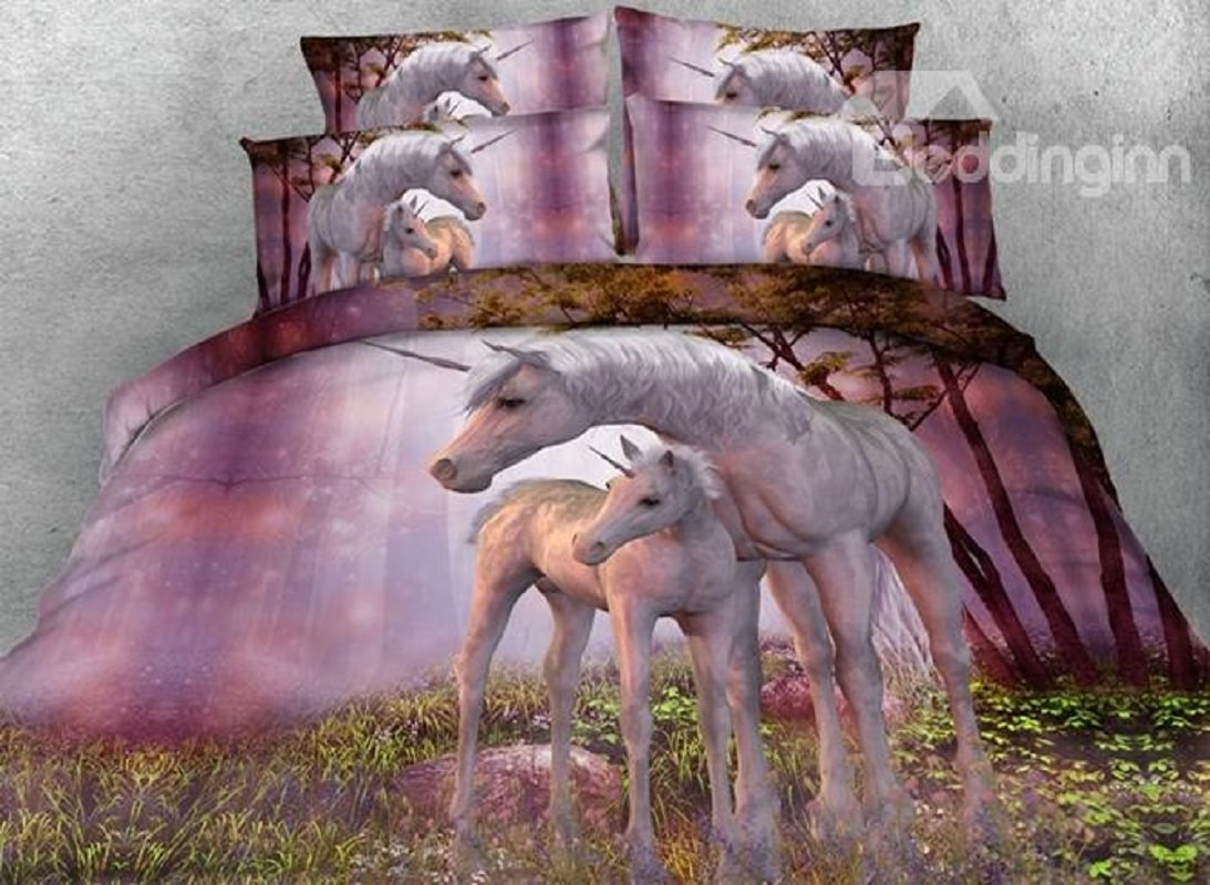 Pinky Unicorns Printed Cotton 800 Thread-Count 3D 4-Piece Sheet Bedding Sets