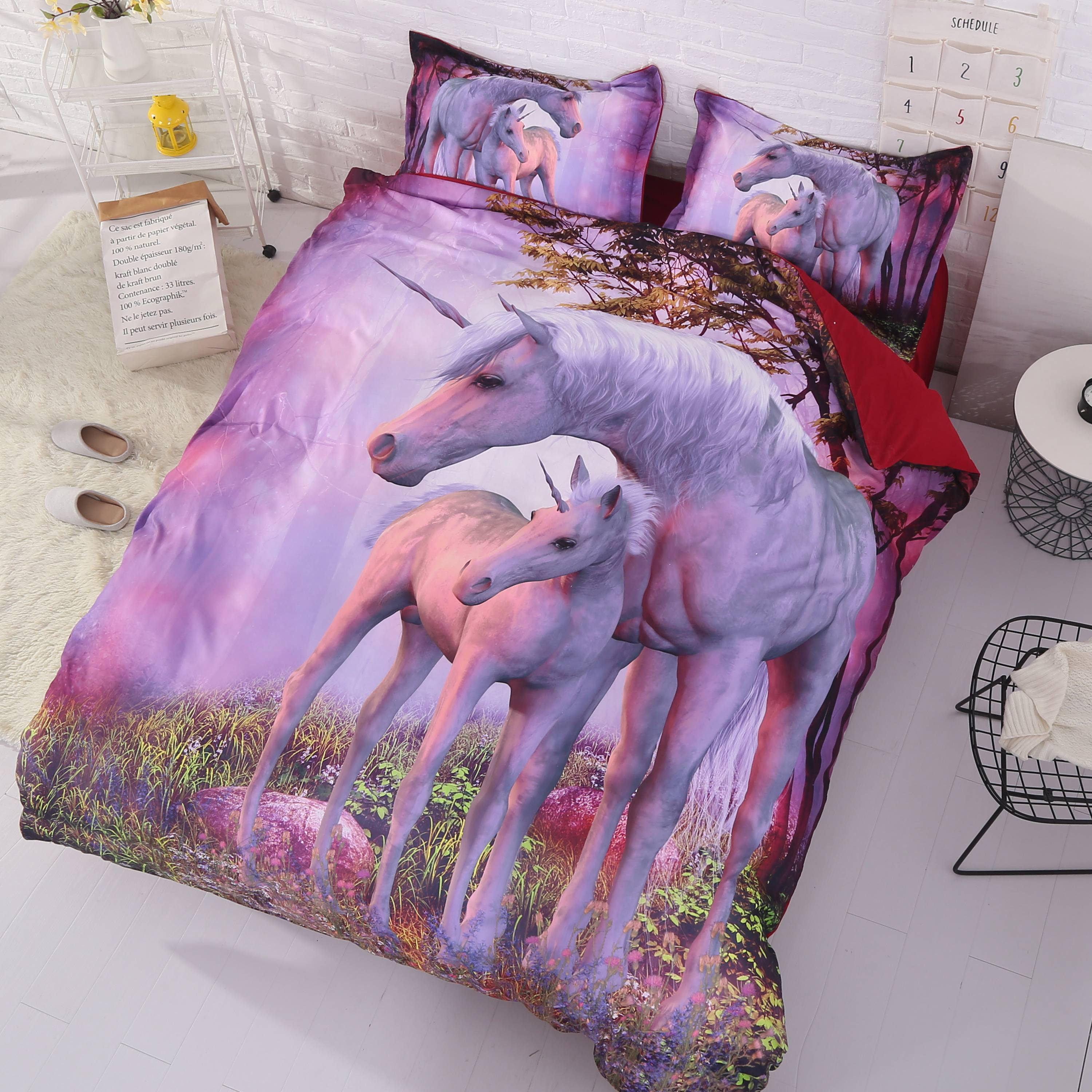 3D Unicorn Printed Cotton 4-Piece Bedding Sets/Duvet Covers