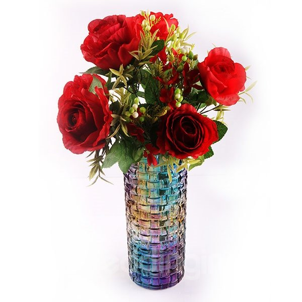 Fabulous Glazed Glass Cylindrical Rugged Tall Flower Vase