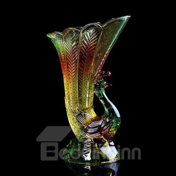 Modern Gorgeous Peacock Design Glazed Glass Flower Vase
