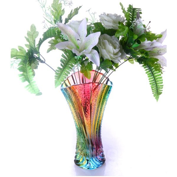 Stunning Rainbow Colored Pleated Fan Design Glass Tall Flower Vase