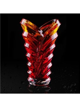 Unique Red Glazed Glass Tall Flower Vase