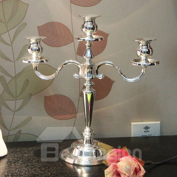 European Style Silver Plated 3-Head Candle Holder