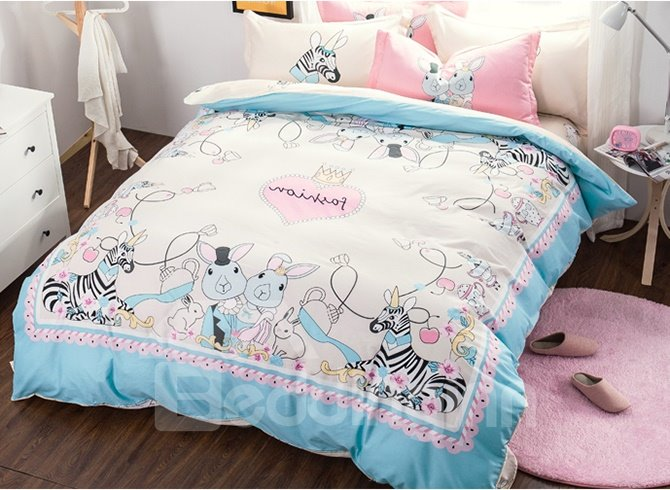 Fashionable Cartoon Rabbits and Zebra Pattern 4-Piece Duvet Cover Sets