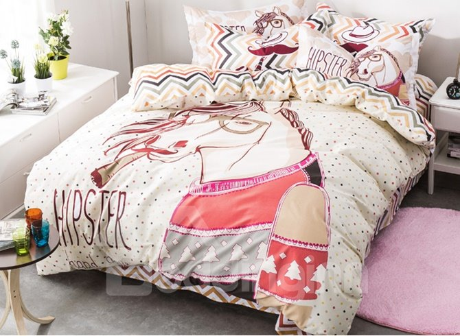Stylish Chic Cartoon Horse Pattern 4-Piece Duvet Cover Sets