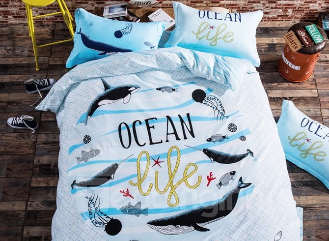 New Style Charming Ocean World 4-piece Duvet Cover Sets