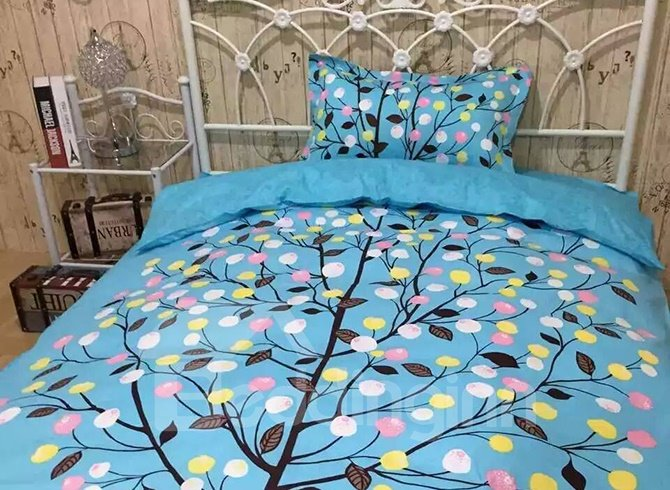 Fresh American Style Cartoon Tree Cotton 4-Piece Duvet Cover Sets