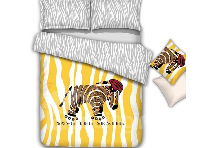 Splendid Cute Cartoon Zebra Pattern 4-Piece Cotton Duvet Cover