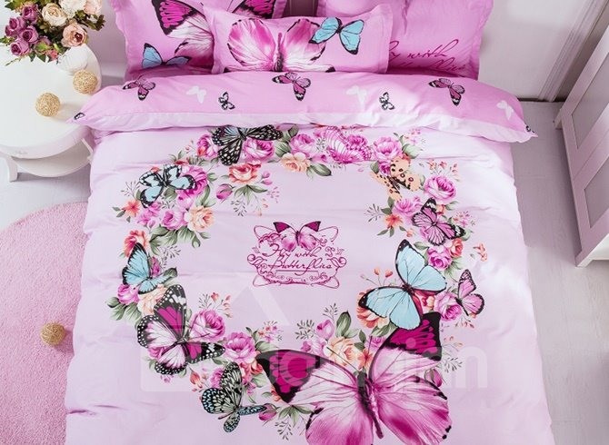 Graceful Pink Garland Print 4-Piece Cotton Duvet Cover Sets