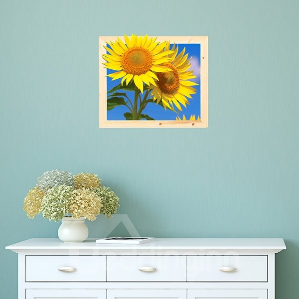 Wonderful Yellow Sunflower Removable Framed 3D Wall Sticker