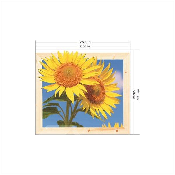 Wonderful Yellow Sunflower Removable Framed 3D Wall Sticker