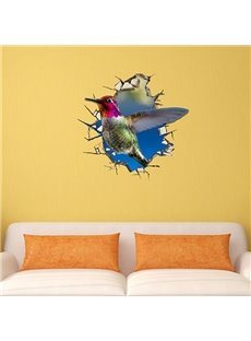 Wonderful Humming Bird Through Wall Removable 3D Wall Sticker