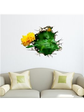 Wonderful Yellow Flower Through Wall Hole Removable 3D Wall Sticker