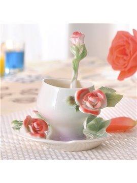 Romantic Ceramic 3D Roses Design Coffee Cup