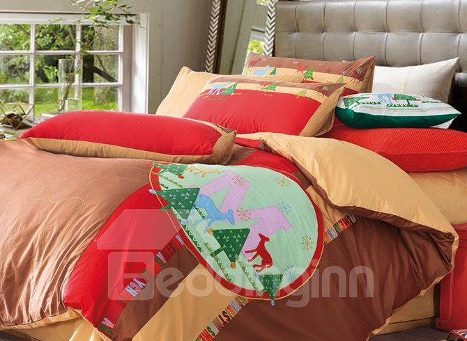 Christmas Reindeer and Tree Pattern Brown Cotton 4-Piece Duvet Cover Sets