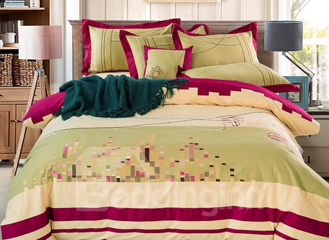 Glamorous City Scape Pattern Cotton 4-Piece Duvet Cover Sets