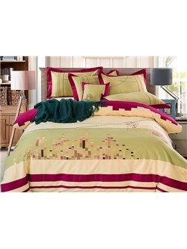 Glamorous City Scape Pattern Cotton 4-Piece Duvet Cover Sets