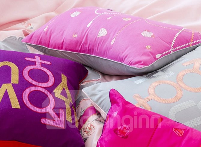 Chic Elegant Romantic Love Cotton 4-Piece Duvet Cover Sets