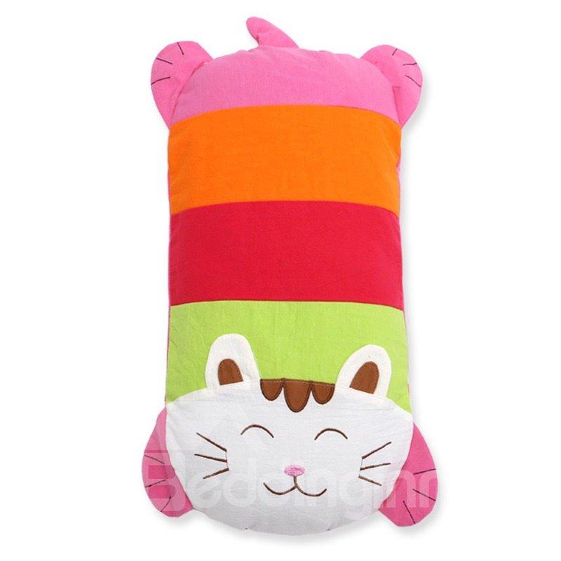 Cute Cat Shape Cotton Surface Buckwheat Hull Filling Crib Pillow