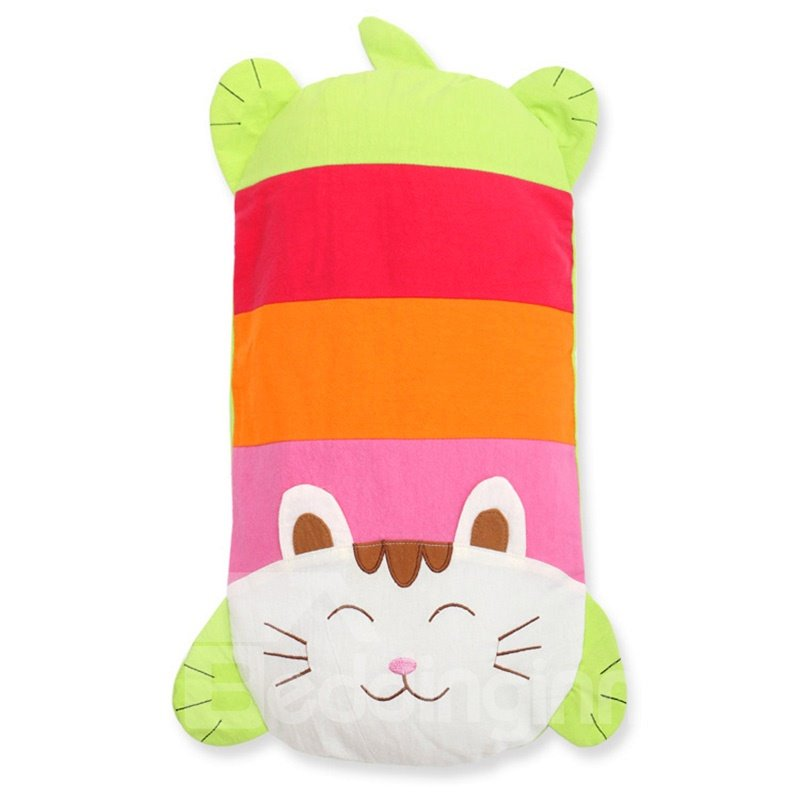 Cute Cat Shape Cotton Surface Buckwheat Hull Filling Baby Pillow