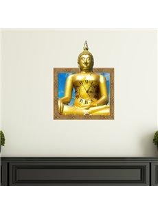 Unique Design Golden Buddha Pattern Design 3D Wall Clock