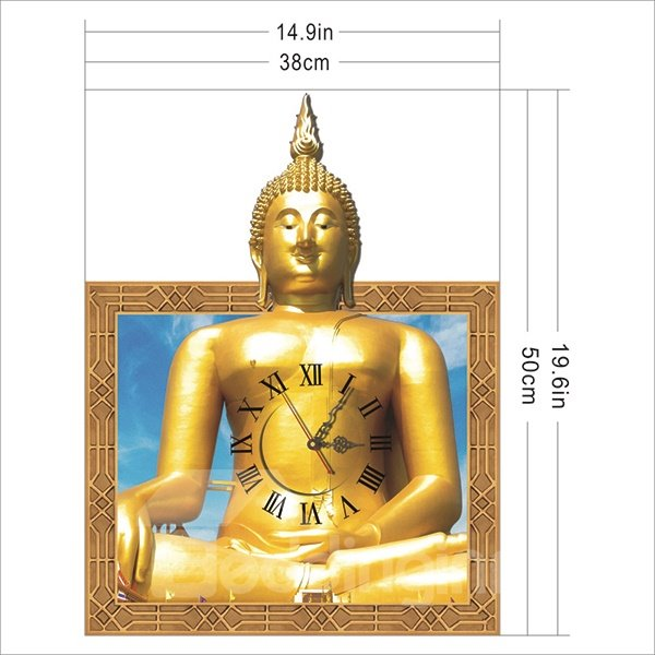 Unique Design Golden Buddha Pattern Design 3D Wall Clock