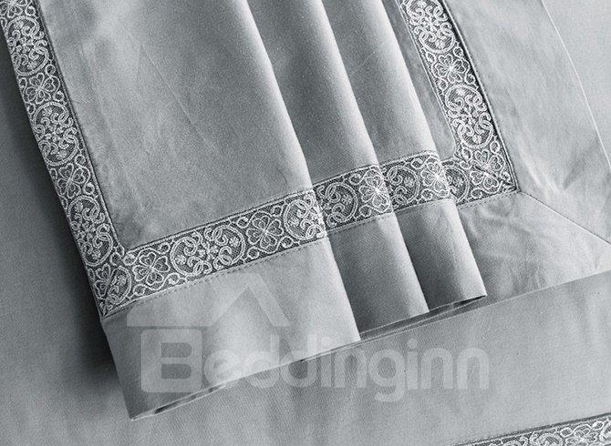 High Quality Gorgeous Grayish Cotton 4-Piece Duvet Cover Sets