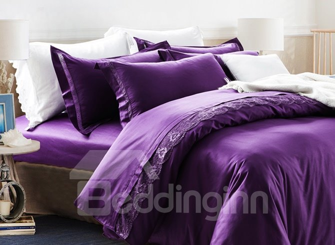 Super Soft and Comfortable Purple 100% Cotton 4-Piece Duvet Cover Sets
