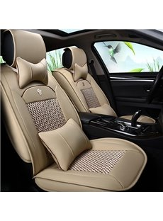 Only One Left in Stock Durable Waterproof Leather&Fabric Material Car Seat Covers, Faux Leatherette Automotive Vehicle Cushion Cover for Cars SUV Pick-up Truck Universal Fit Set Auto Interior Accessories