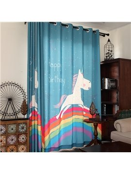 Sky Blue Cute Unicorn and Rainbow Print Kids Curtain