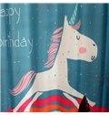 Sky Blue Cute Unicorn and Rainbow Print Kids Curtain