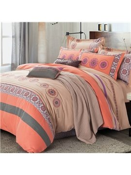 Muted Colored Elegant Stripe Cotton 4-Piece Duvet Cover Sets