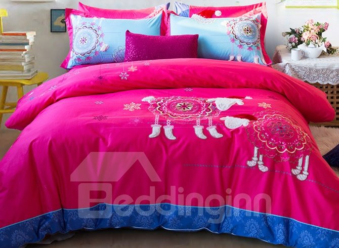 Lovely Lamb Embroidery Red Cotton 4-Piece Duvet Cover Sets