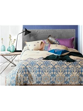 Unique Paisley Flourishing Pattern Pure Cotton 4-Piece Duvet Cover Sets