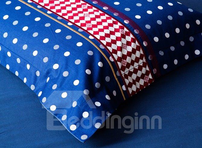 Stripes & Dots Design 100% Cotton 4-Piece Duvet Cover Sets