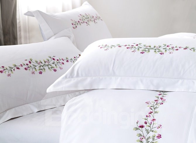 Lovely Purple Flowers Pattern White Cotton 4-Piece Duvet Cover Sets