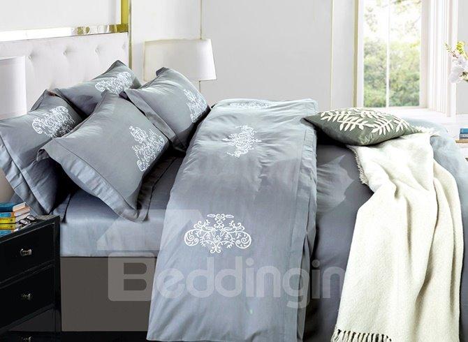 Cozy Luxury Grayish Cotton 4-Piece Duvet Cover Sets