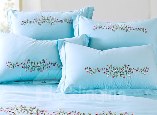 Gracious Flowers Embroidery Sky-blue Cotton 4-Piece Duvet Cover Sets