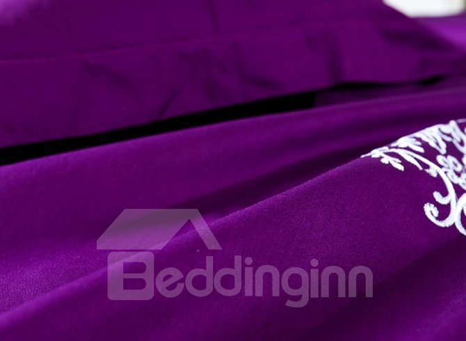 American Country Style Embroidery Purple Cotton 4-Piece Duvet Cover Sets