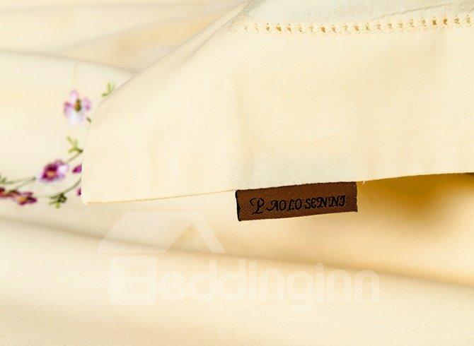 High-grade Purple Floret Embroidery Cotton 4-Piece Duvet Cover Sets