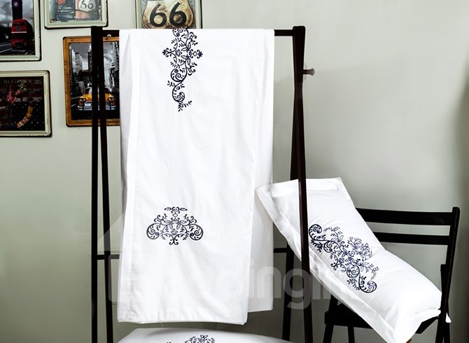 100% Cotton Fancy Embroidery White 4-Piece Duvet Cover Sets