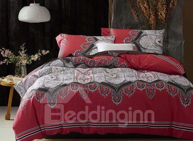 Cozy Aesthetic Jacquard Design Cotton 4-Piece Duvet Cover Sets